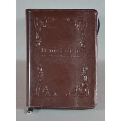 ŚREDNIA BIBLIA twarda oprawa napis i wzorek 2 ciemny brąz