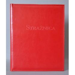 STRAŻNICA czerwona z kieszenią i folią z+k