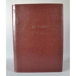 LITERATURA BIBLIJNA z zamkiem i folią napis ciemny brąz