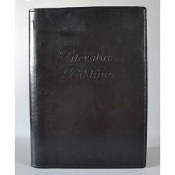 LITERATURA BIBLIJNA z zamkiem i folią napis czarna