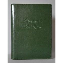 LITERATURA BIBLIJNA z zamkiem i folią napis ciemna zieleń