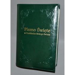 Biblia średnia twarda oprawa nieusztywniana bez zamka  (wzór i złocony napis) ciemna zieleń