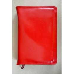 ŚREDNIA BIBLIA twarda oprawa skórzanabez napisu i wzorka czerwona