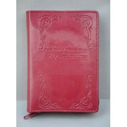 ŚREDNIA BIBLIA twarda oprawa napis i wzorek bordo ANG