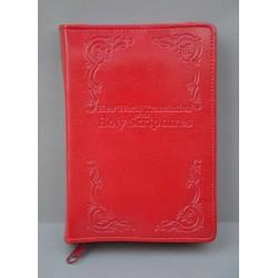 ŚREDNIA BIBLIA twarda oprawa napis i wzorek czerwona ANG