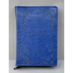 ŚREDNIA BIBLIA twarda oprawa napis i wzorek granat z fakturą ANG