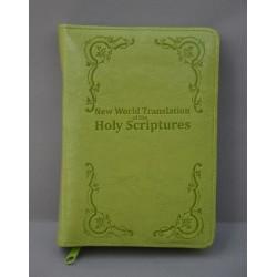 ŚREDNIA BIBLIA twarda oprawa napis i wzorek jasna zieleń ANG