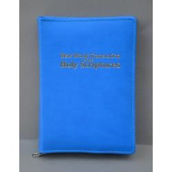 ŚREDNIA BIBLIA twarda oprawa napis złocony bez wzoru niebieska ANG