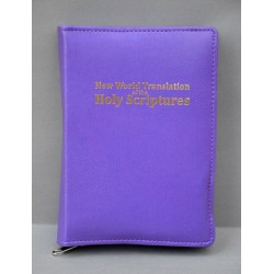 ŚREDNIA BIBLIA twarda prawa napis złocony bez wzoru fioletowa ANG