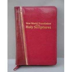 ŚREDNIA BIBLIA twarda oprawa złoty pasek bordo, ciemne bordo ANG