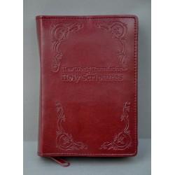 ŚREDNIA BIBLIA twarda oprawa napis i wzorek ciemne bordo ANG