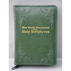 ŚREDNIA BIBLIA miękka oprawa napis złocony i wzorek ciemna zieleń ANG