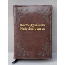 ŚREDNIA BIBLIA miękka oprawa napis złocony i wzorek ciemny brąz ANG