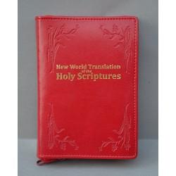 ŚREDNIA BIBLIA miękka oprawa napis złocony i wzór czerwony ANG