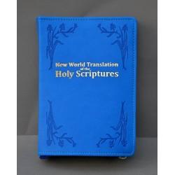 ŚREDNIA BIBLIA miękka oprawa napis złocony i wzór niebieski ANG