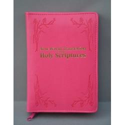 ŚREDNIA BIBLIA miękka oprawa napis złocony i wzór róż ANG
